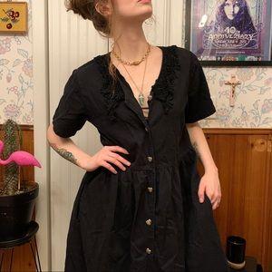 Vintage Black Button Front Crochet Collar Dress